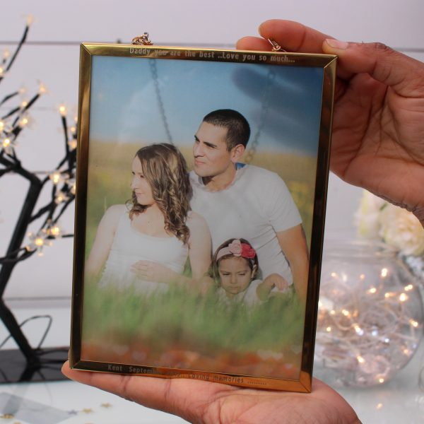 Engraved Metal Frame with Printed Glass fully personalised