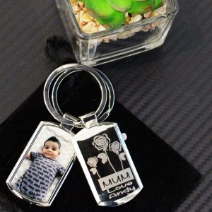 Custom engraved and printed personalised keyring