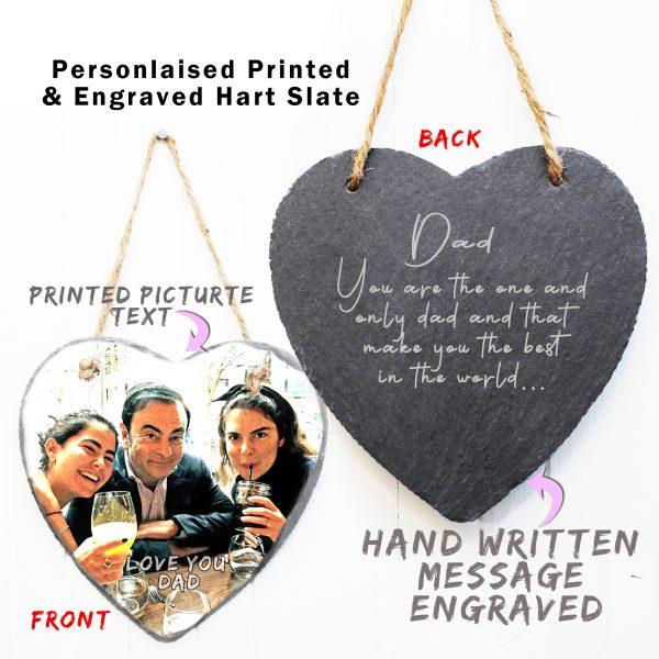 Hand written hidden message engraved and photo printed heart rock slate